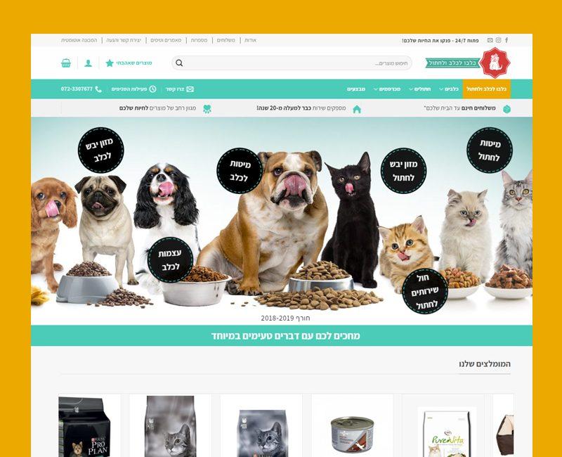 הקמת אתר חנות לכלבו לכלב ולחתול